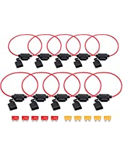 Fuse Holder AMTOVL Waterproof Standard Fuse Holders 10pc 12V 16AWG ATO Blade Inline Fuse Holder 5A/10A Fuse with Waterproof Dustproof Cover For Car Boat RV