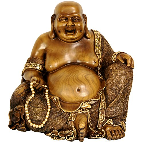 "Oriental Furniture 10"" Sitting Hotei Happy Buddha Statue"