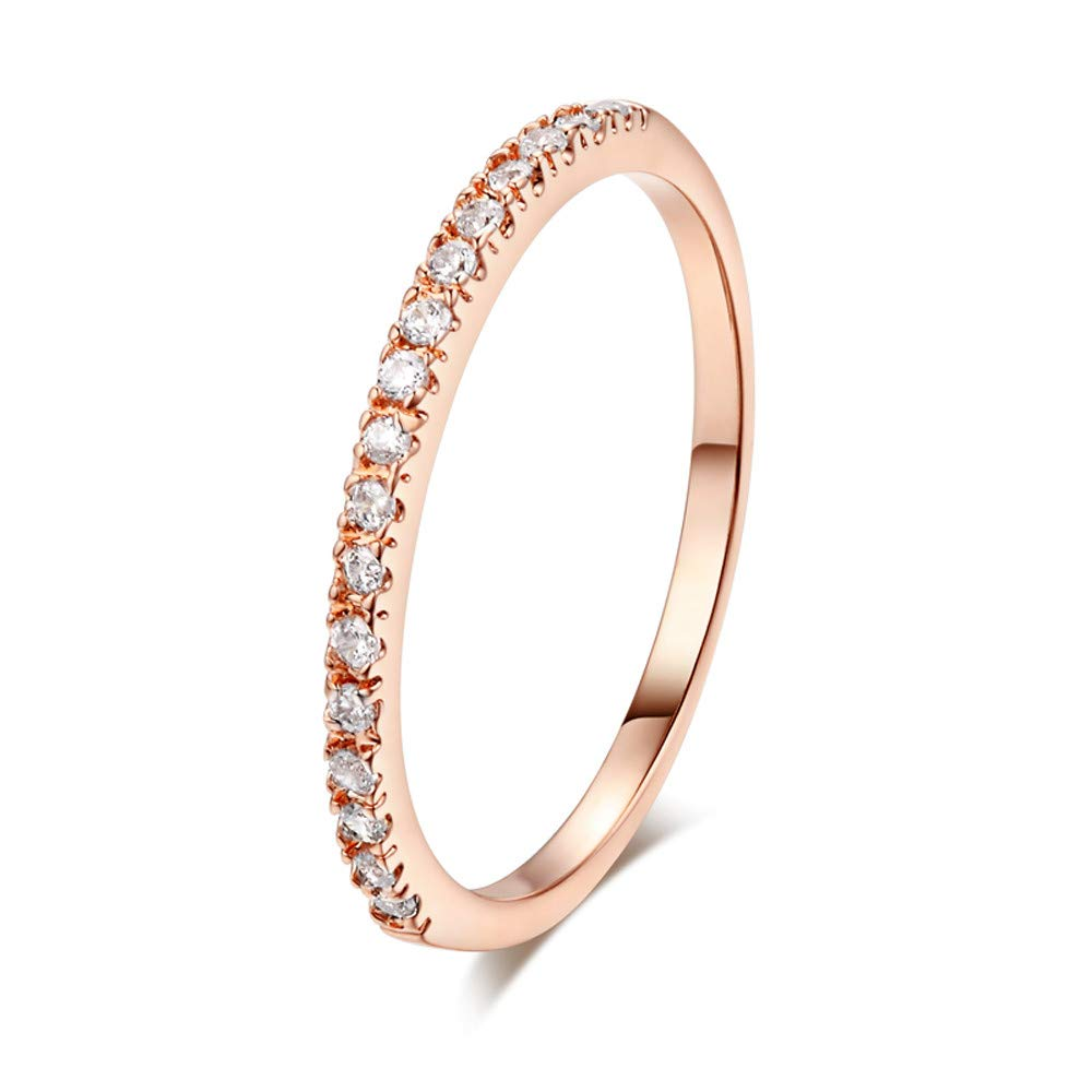 Hanican Exquisite Simple Diamond Wedding Ring High Grade Zircon Rings, Rose Gold, 5.5