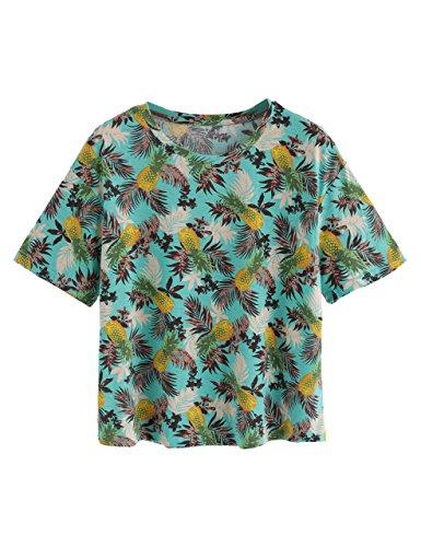 Romwe Women's Foliage Print Drop Shoulder Crew Neck T-Shirt Tee Top Multicolor ()