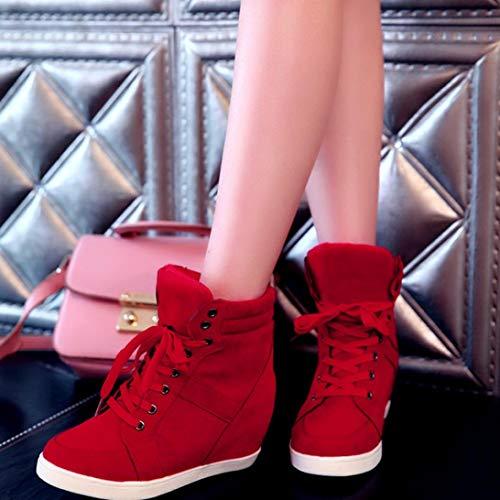 Mujer clásicos Invierno otoño Zapatos Sneakers de Rojo de Botines de de Martain Plano QinMM Botas Cordones con q1Ew8