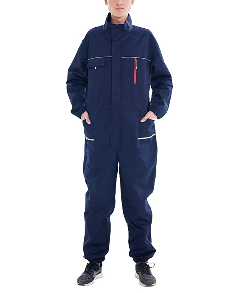 Mens and Womens Waterproof Dustproof Workwear Long Sleeve Snap Zip-Front Coverall with Multi Pockets Overalls
