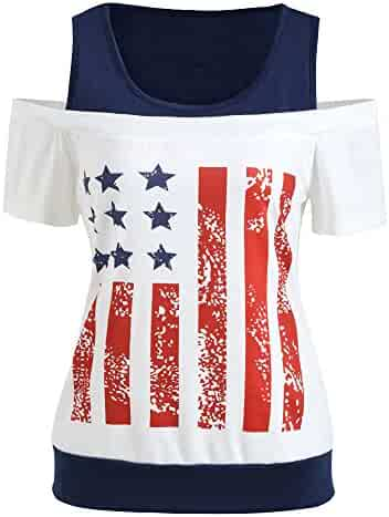 Marker Boards COLNER 4th of July Tops for Women Short Sleeve American Flag Stars Print T-Shirts Tees Casual Blouse