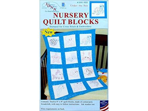 [Jack Dempsey JDN300.900 Nursery Quilt Blocks Underthesea 12Pc Nursery Quilt blocks underthesea] (Jack Dempsey Block)