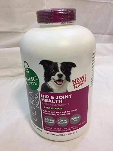 GNC Pets Ultra Mega Hip and Joint Health - Adult Dogs - Beef Flavor 240 chewable