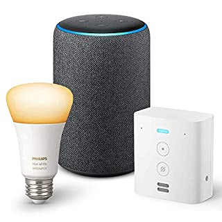 Echo Plus (2nd Gen) with Echo Flex and Philips Hue Bulb - Alexa smart home starter kit - Charcoal
