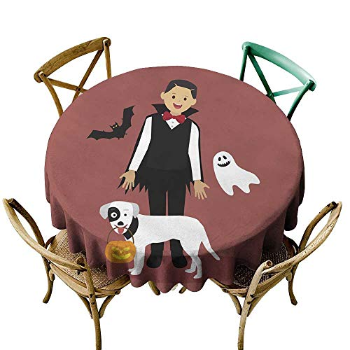 SKDSArts Custom tablecloths Halloween Dracula Costumes with White Dog Carrying a Pumpkin D70,Round Tablecloth]()