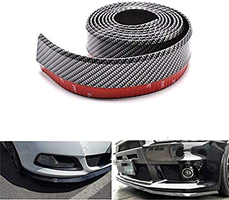 2.5m Rubber Black//Red Car Front Lip Bumper Strip Protection Decoration Stickers