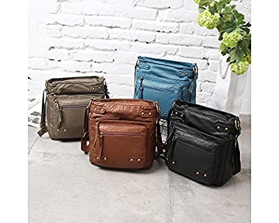 FanCarry Washed Soft Leather Crossbody Purse Multi Pocket Shoulder Satchel Bags for Women