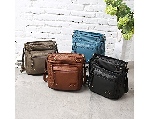 FanCarry Washed Leather Purse Multi Pocket Crossbody Bag Ultra Soft