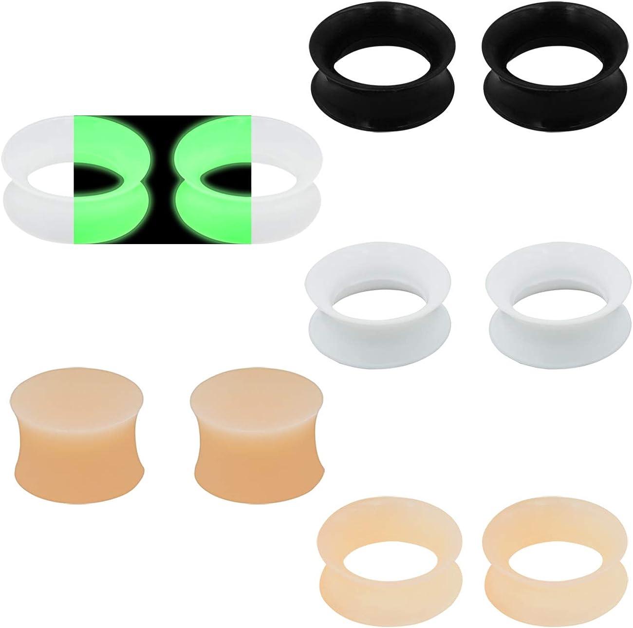 Ear Flesh Tunnel Piercing Thin Soft Flexible Silicone Body Jewellery4-20 mm