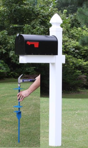 The Richmond Vinyl / PVC Mailbox Post No Dig System - White (Includes Mailbox)