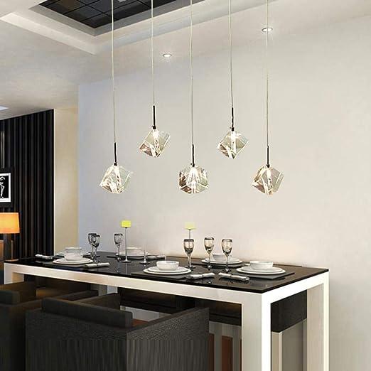 Barra transparente Cristalino pendiente Luz LED Comedor de 35Rj4LqA