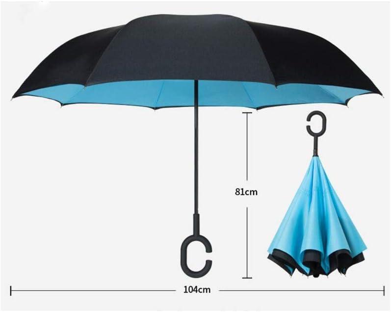 Pattern : Cherry Blossom HongTeng Double-Layer Fabric Hands-Free Reverse Umbrella Double Car Sun Rain Dual-use Umbrella Long Handle Large Sun Umbrella Female