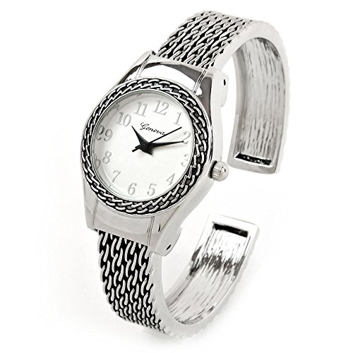 - Silver Western Style Round Face Easy to Read Women's Bangle Cuff Watch
