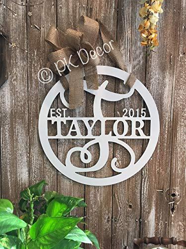 Personalized Door Wreath (Personalized Last Name Door Hanger 18 inch ACM Metal Sign Monogram Gifts For Women Monogram Door Wreath Established Family Sign Initial Door Hanger QUICK)