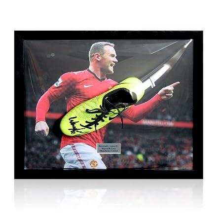 Framed Wayne Rooney Signed Football Boot - Nike T90 Yellow