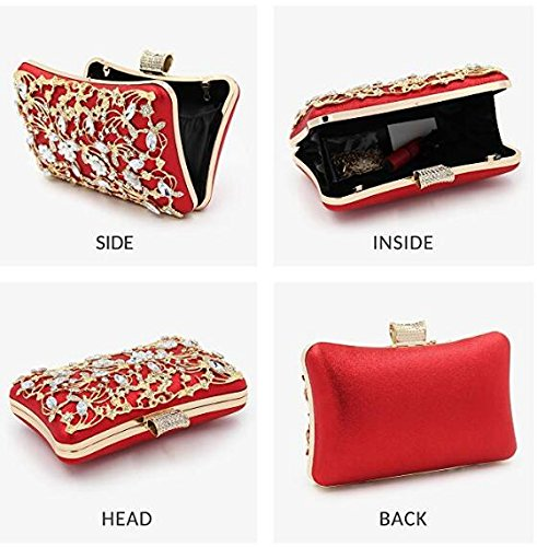 Red Clutches Bridal Crystal with Strap Evening Women and Clutch Glitter Large Bags for Clutches Handbag Purse xqU4SZwH