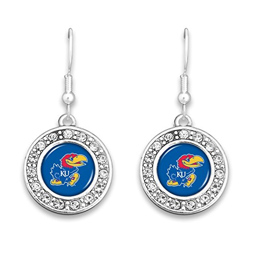 FTH Kansas Jayhawks Circle Logo Earrings with Rhinestones