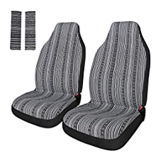 Copap Universal Stripe Colorful 4pc Front Seat Covers Baja Bucket Seat Cover Blue Saddle Blanket with Seat-Belt Pad Protectors for Car, SUV & Truck