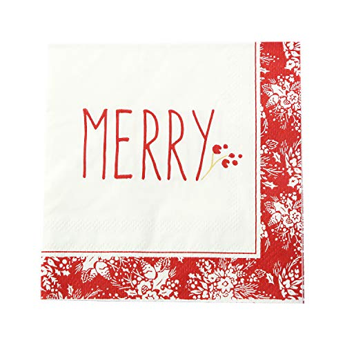 CEDAR HOME Cocktail Decorative Napkin Disposable Paper Dinner Party Wedding Beverage Tissue, 80 Count, Holiday Farmhouse