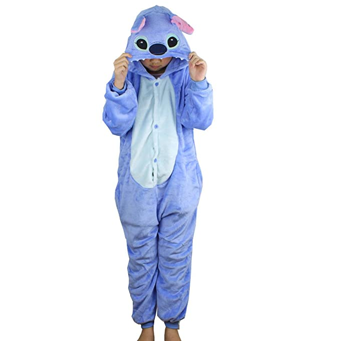 Pijama dibujos animados animal disfraz cosplay ropa para niños (Azul, 120)