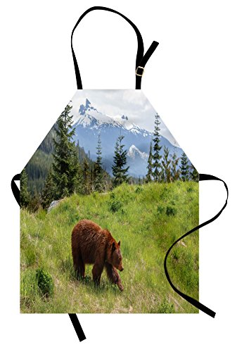 Ambesonne Bear Apron, Wildlife up in The Mountains Theme Furry Animal Carnivore Yellowstone Nature Habitat, Unisex Kitchen Bib Apron with Adjustable Neck for Cooking Baking Gardening, Green Brown by Ambesonne