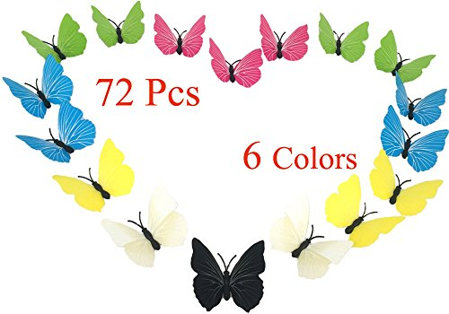 Chilly 3D Butterfly Decals Wall Sticker for Home, Kitchen, Nursery and Room Decorations, 72PCS in Total- Diversity in 6 Colors and 3 Sizes, Water Resistant, Removable and Reusable (Solid (Diversity Magnet)