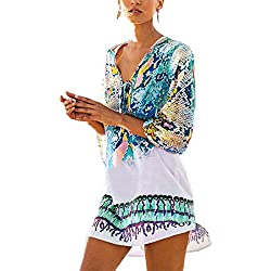 Womens Cover up Bohemia Tassel Swimsuit Beachwear Bikini Dress,Free Size,Blue