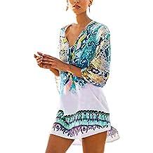 Womens Cover up Bohemia Tassel Swimsuit Beachwear Bikini Dress,Free Size,Blue