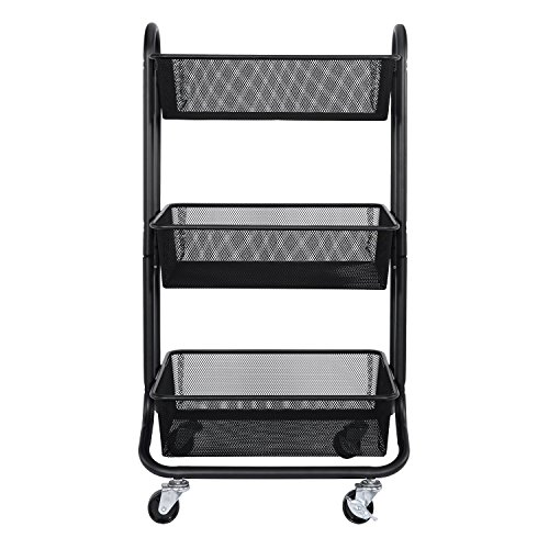 DESIGNA 3-Tier Metal Mesh Rolling Storage Cart with Utility Handle, ()