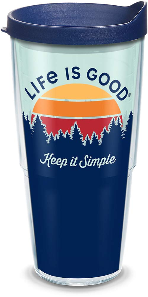 Tervis 1314614 Life is Good 16 oz Keep It Simple Insulated Tumbler with Wrap and Lid Tritan Clear