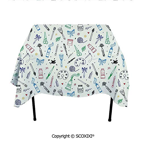 (SCOXIXI Picnic Tablecloth Washable Polyester Fabric,Artistic Painting Motif Brush Color Palette Ribbon Dye Scissor Craftsmanhip Theme Decorative,W55XL55 Inches)