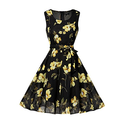 Women's Flare Floral Casual Style Swing Party Mini Dress Black_Yellow XXL