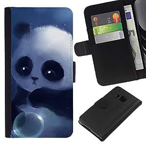 LECELL--Cuero de la tarjeta la carpeta del tirón Smartphone Slots Protección Holder For HTC One M7 -- Panda linda del bebé --