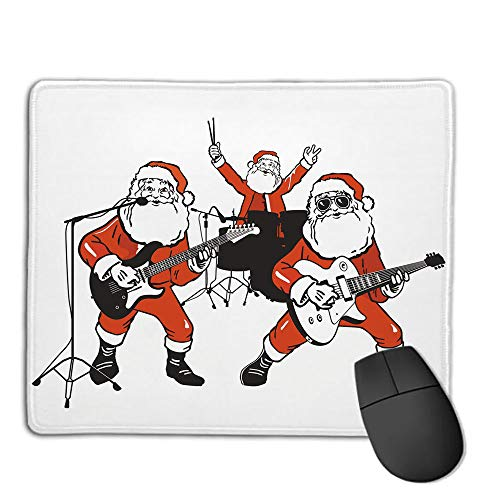 Mouse Pad Custom,Non-Slip Rubber Mousepad,Funny,Santa Claus Rock Band Playing Drums Guitar Father Christmas Show Print Decorative,Orange Charcoal Grey,for Laptop, Computer, PC, Keyboard,H9.8XW11.8in