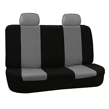 FH Group FB050GRAY012 Gray Fabric Bench Car Seat Cover With 2 Headrests