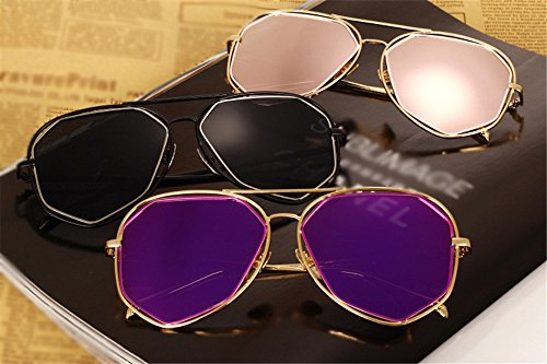 gafas de de espejo la con oro sol Los protege DESESHENME color Rosa lentes de negros de la de púrpura lente sol con del oro borde de marca diseñador color hombres gafas de borde Lente wTqaq1I