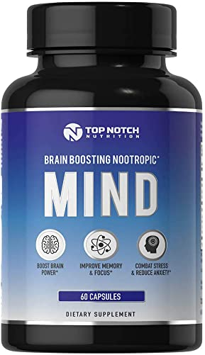 Top Notch Nutrition Nootropic Brain Supplement Featuring a B Complex L Theanine Bacopa and Alpha GPC Experience Anxiety Relief Improved Memory Mental Clarity and Focus No Caffeine Energy Pills – 60