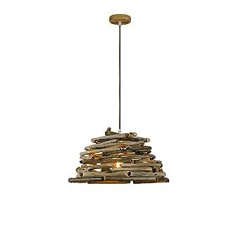 DEED Lámpara iluminada Personalidad Creativa Retro Log Chandelier Protección Ambiental Creativa Araña de Madera Barbacoa Bar