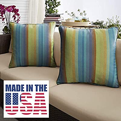 Amazon Com 1101design Sunbrella Astoria Lagoon Corded Decorative Indoor Outdoor Square Throw Pillow Perfect For Patio Decor Blue Stripe 22 Set Of 2 Garden Outdoor