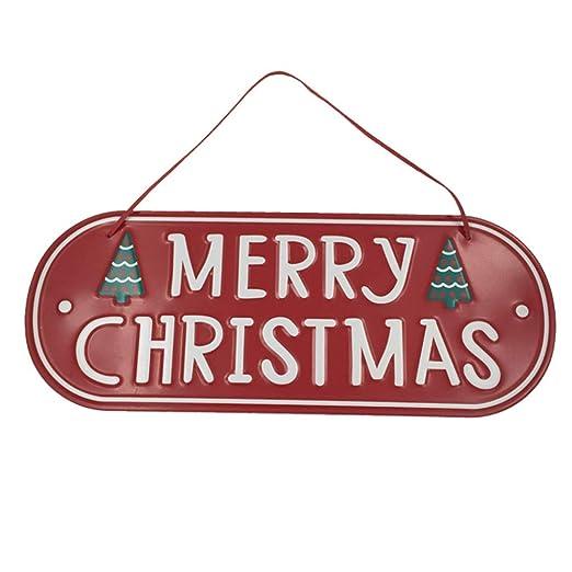 Amosfun Feliz Navidad Cartel de Hierro Colgador de Puerta de ...