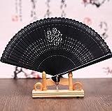 Black 10Pcs High-Grade Bamboo Carving Craft Gift Fans Mini Pocket Fan 17Cm Japanese Folding Fan Female Hand Held Dance