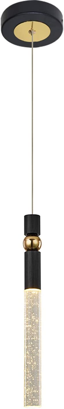 JoollySun Modern Pendant Light Fixtures - Mini LED Hanging Lighting with Seeded Crystal Cylinder for Kitchen Island Dining Room Bedroom Warm White 3000K - Black Gold