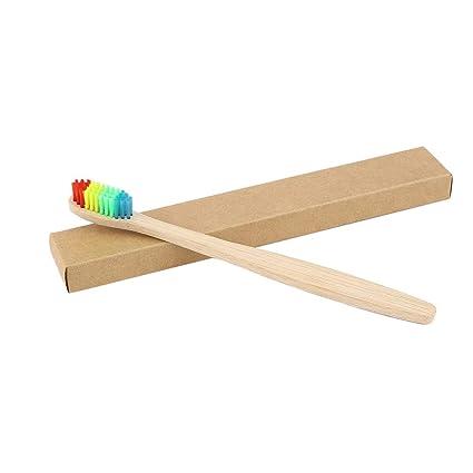 Colorido Pelo + Mango de bambú Cepillo de dientes Ambiente Arco iris de madera Bambú Cepillo