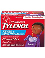 TYLENOL Children's Fever and Sore Throat Pain Chewables, Relieves Fever and Sore Throat Pain 20ct, Grape Flavour, For ages 6-11yrs