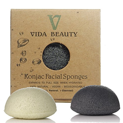 KONJAC BATH SPONGE Charcoal & Natural bath Sponge, 2pk100% Natural Bath Sponge, Exfoliating Bath Sponge, Deep Cleansing, Improved Skin - Facial Sponge, For Sensitive Skin, Hypoallergenic