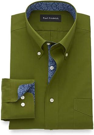 Paul Fredrick Mens Tailored Fit Non-Iron Cotton Solid Dress Shirt