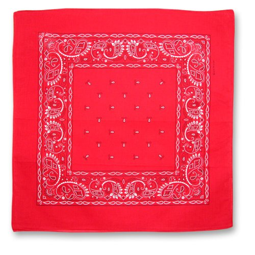 RED COTTON BANDANA PAISLEY PRINT 22 SQUARE INCHES by CoverYourHair (Image #1)