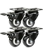 JZK 4 x zwarte PU-strandstoelwielen, transportwielen, set van 2 zwenkwielen + 2 zwenkwielen met rem 50 mm, kleine zwenkwielen, voor auto's, meubels, werkbanken en rekken